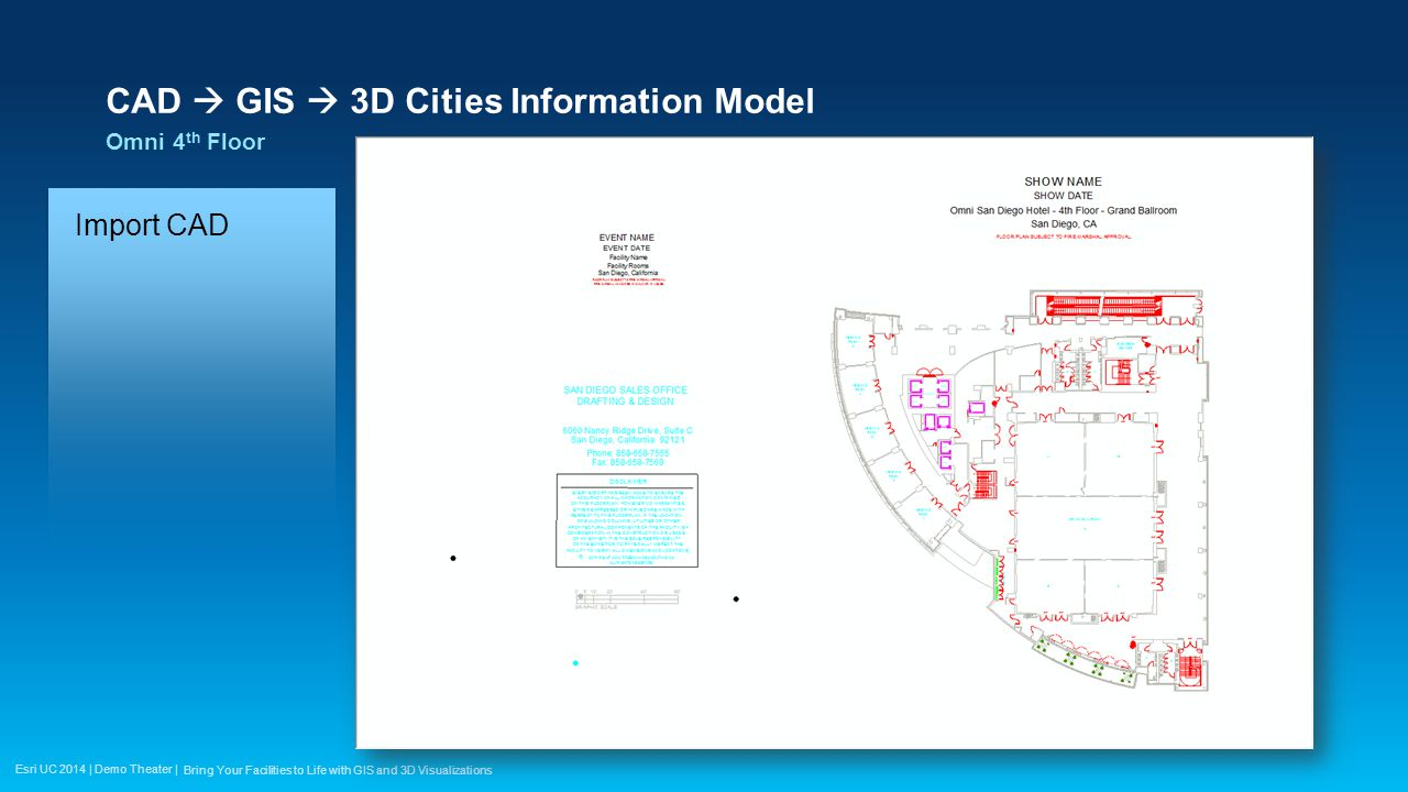 Esri UC 2014 | Demo Theater | CAD  GIS  3D Cities Information Model Omni 4 th Floor Bring Your Facilities to Life with GIS and 3D Visualizations Import CAD Georeference Build Polygons Attribute Spaces Attribute Structure Stairs Furniture Chairs & Tables