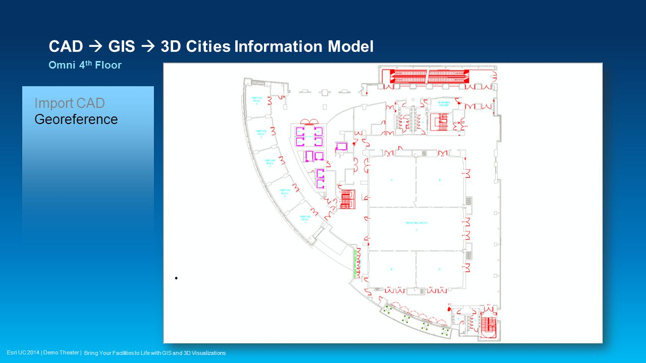 Esri UC 2014 | Demo Theater | CAD  GIS  3D Cities Information Model Omni 4 th Floor Bring Your Facilities to Life with GIS and 3D Visualizations Import CAD Georeference Build Polygons Attribute Spaces Attribute Structure Stairs Furniture Booths