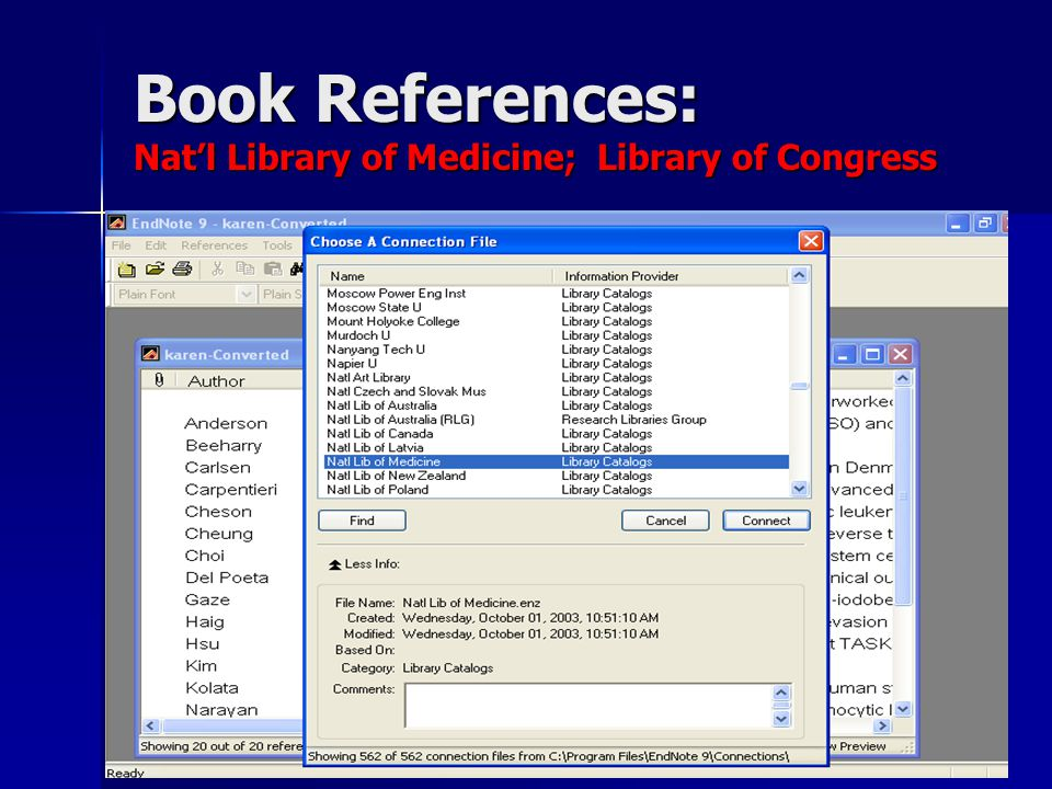 Book References: Nat'l Library of Medicine; Library of Congress