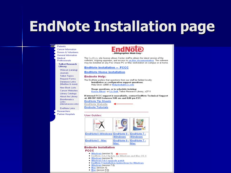 EndNote Installation page