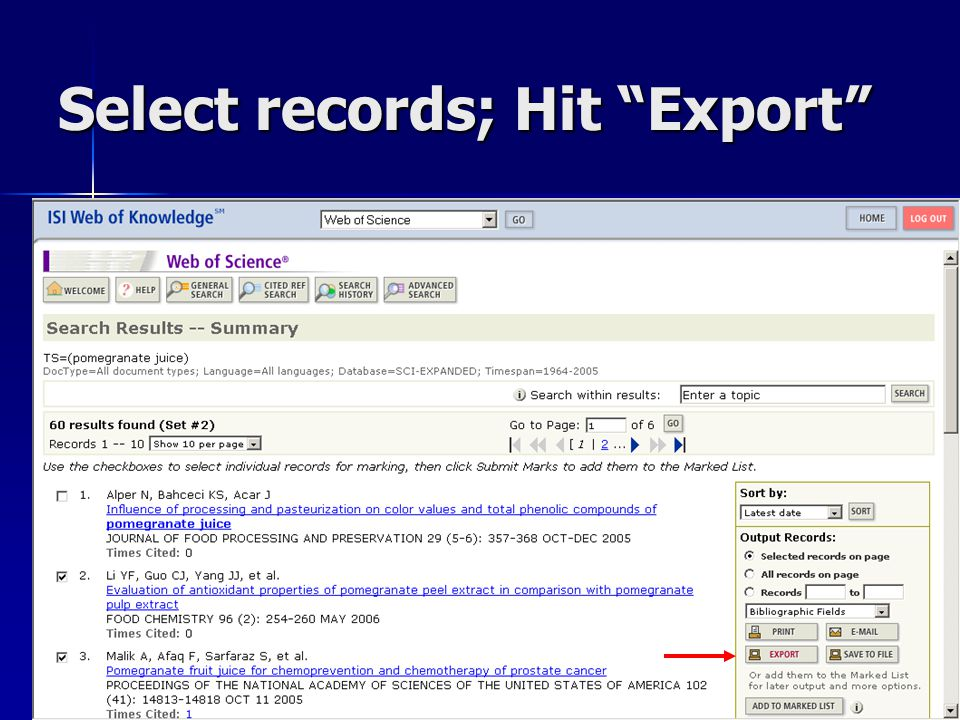 "Select records; Hit ""Export"""
