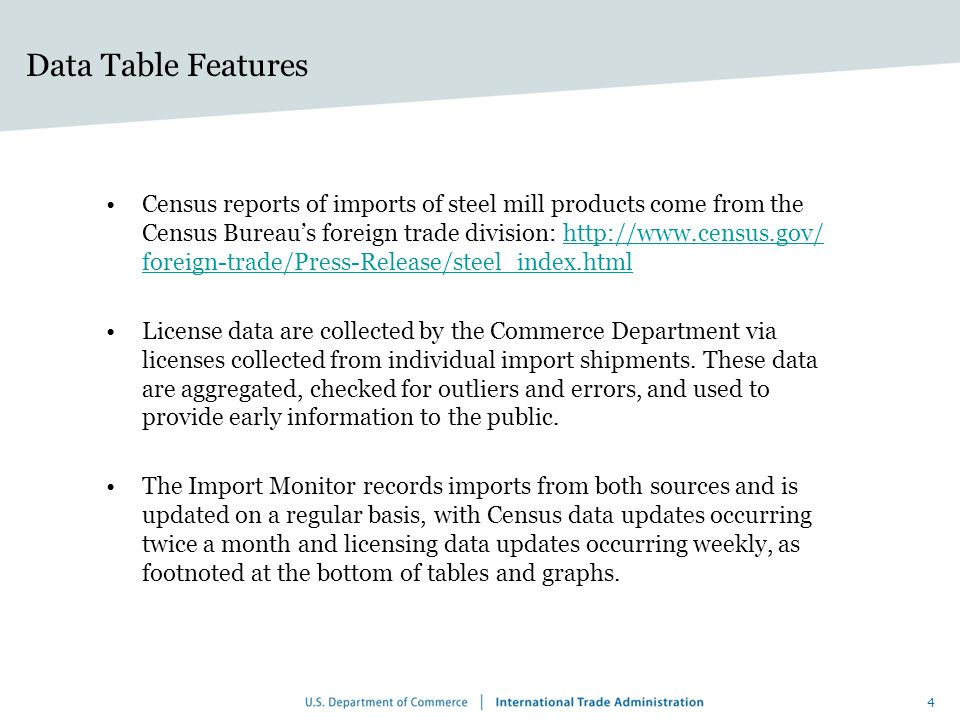 Data Table Features Census reports of imports of steel mill products come from the Census Bureau's foreign trade division: http://www.census.gov/ foreign-trade/Press-Release/steel_index.htmlhttp://www.census.gov/ foreign-trade/Press-Release/steel_index.html License data are collected by the Commerce Department via licenses collected from individual import shipments.