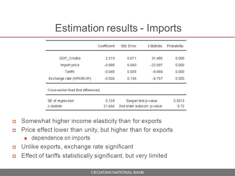 Estimation results - Imports  Somewhat higher income elasticity than for exports  Price effect lower than unity, but higher than for exports dependence on imports  Unlike exports, exchange rate significant  Effect of tariffs statistically significant, but very limited