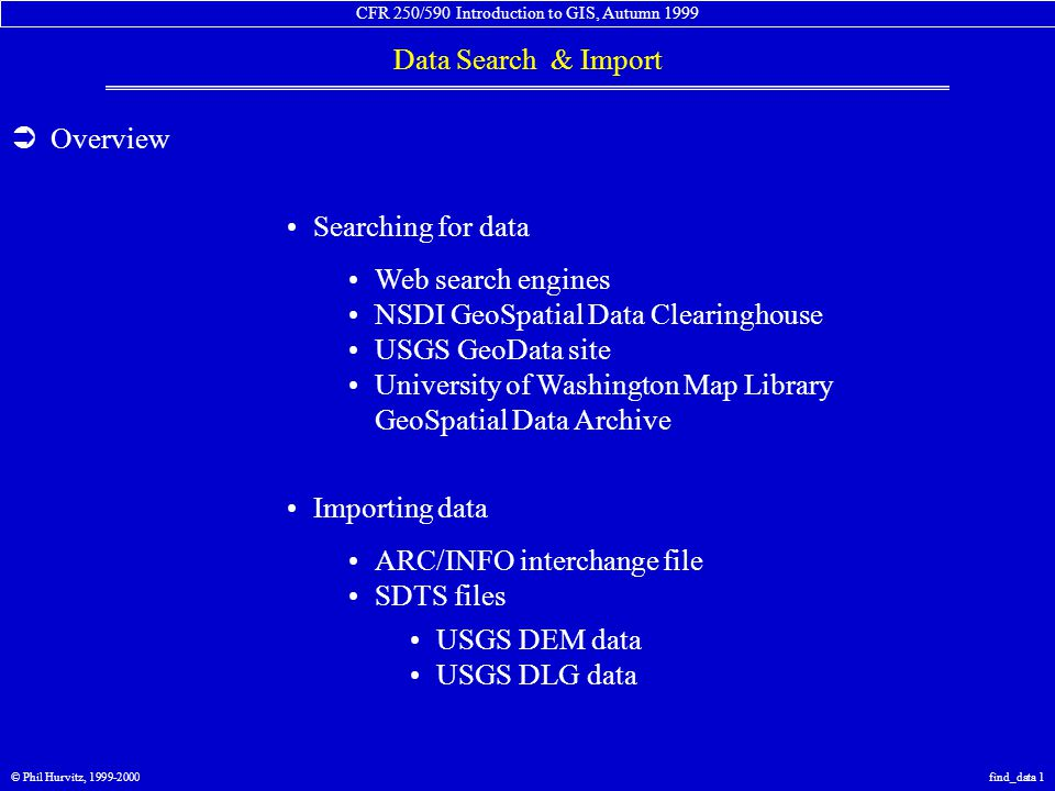 CFR 250/590 Introduction to GIS, Autumn 1999 Data Search & Import © Phil Hurvitz, 1999-2000find_data 1  Overview Web search engines NSDI GeoSpatial Data Clearinghouse USGS GeoData site University of Washington Map Library GeoSpatial Data Archive Searching for data Importing data ARC/INFO interchange file SDTS files USGS DEM data USGS DLG data