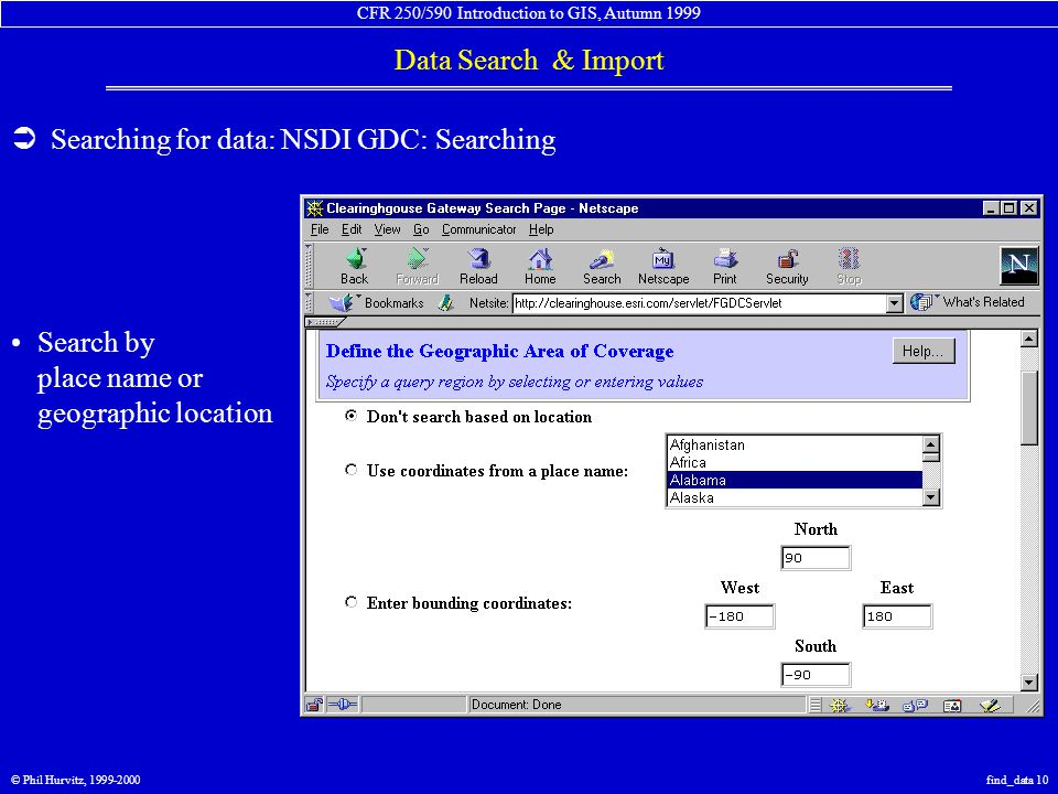 CFR 250/590 Introduction to GIS, Autumn 1999 Data Search & Import © Phil Hurvitz, 1999-2000find_data 10  Searching for data: NSDI GDC: Searching Sear