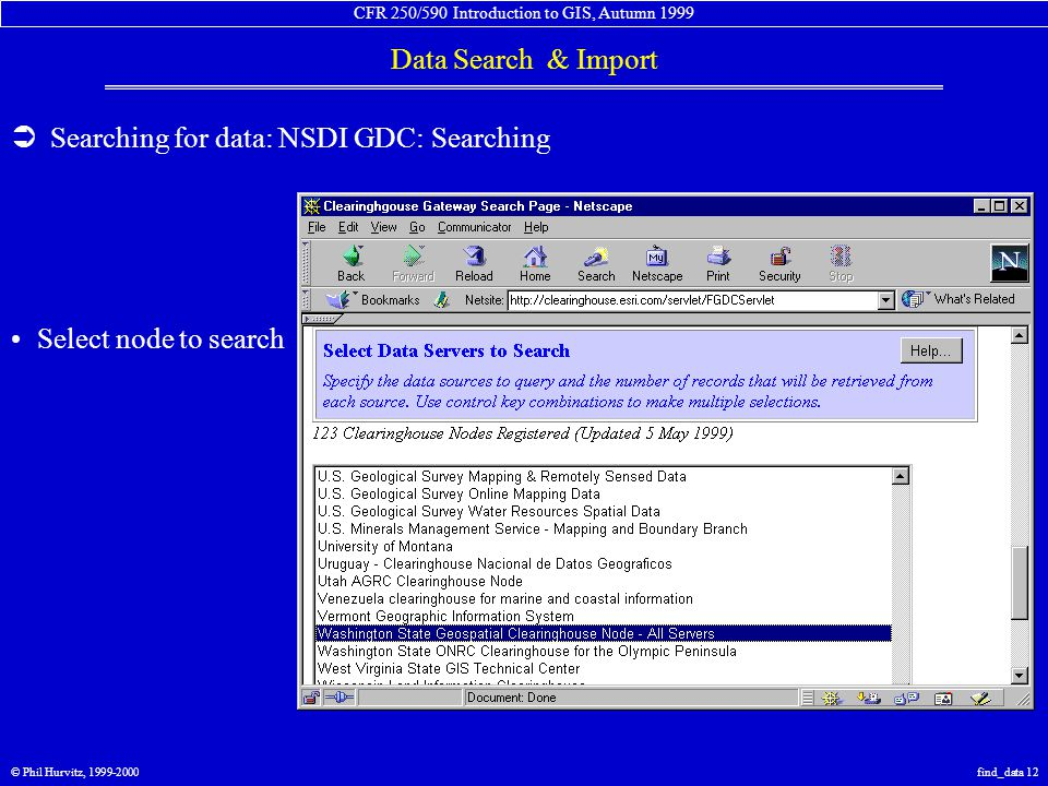 CFR 250/590 Introduction to GIS, Autumn 1999 Data Search & Import © Phil Hurvitz, 1999-2000find_data 12  Searching for data: NSDI GDC: Searching Sele