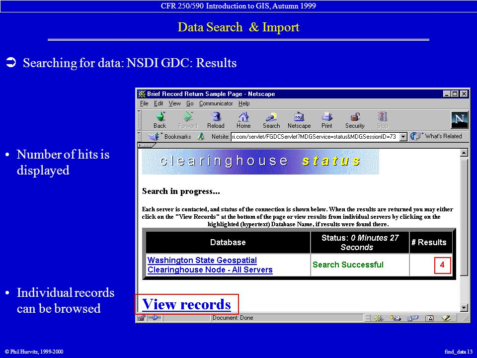 CFR 250/590 Introduction to GIS, Autumn 1999 Data Search & Import © Phil Hurvitz, 1999-2000find_data 13  Searching for data: NSDI GDC: Results Number of hits is displayed Individual records can be browsed