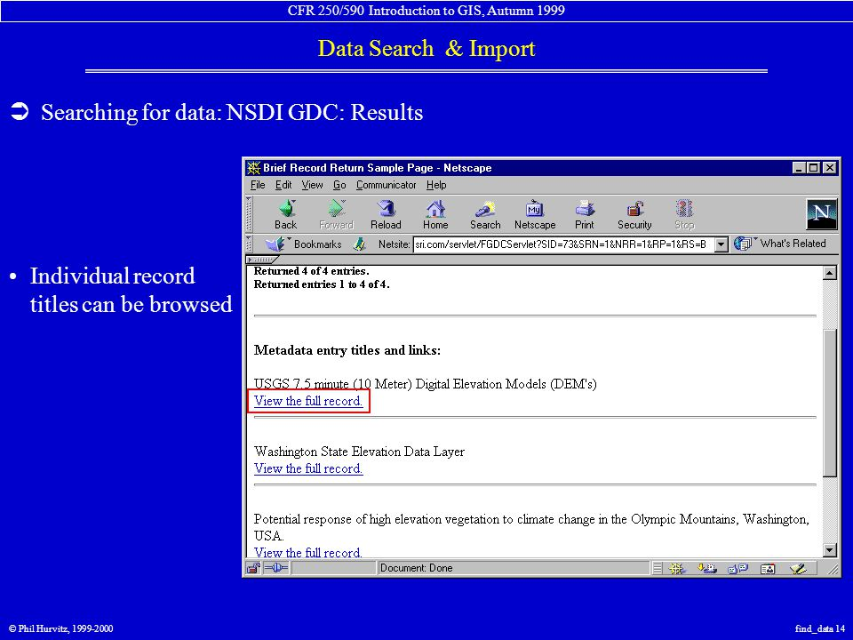CFR 250/590 Introduction to GIS, Autumn 1999 Data Search & Import © Phil Hurvitz, 1999-2000find_data 14  Searching for data: NSDI GDC: Results Individual record titles can be browsed