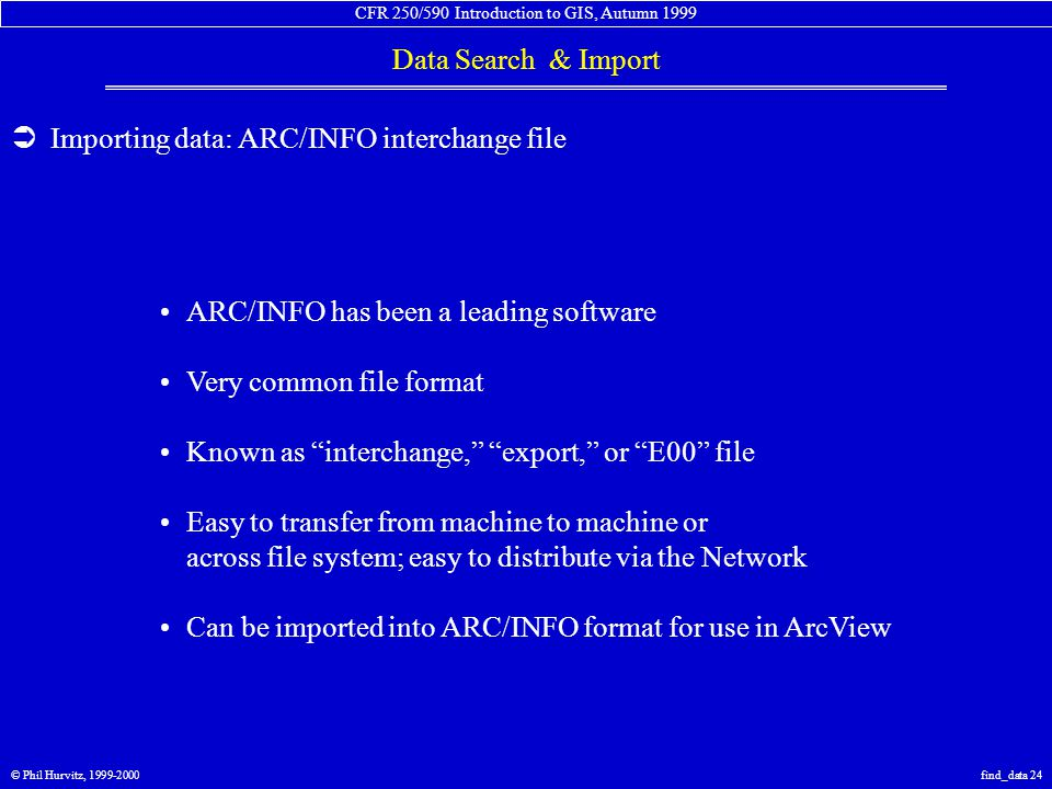 CFR 250/590 Introduction to GIS, Autumn 1999 Data Search & Import © Phil Hurvitz, 1999-2000find_data 24  Importing data: ARC/INFO interchange file ARC/INFO has been a leading software Very common file format Known as interchange, export, or E00 file Easy to transfer from machine to machine or across file system; easy to distribute via the Network Can be imported into ARC/INFO format for use in ArcView