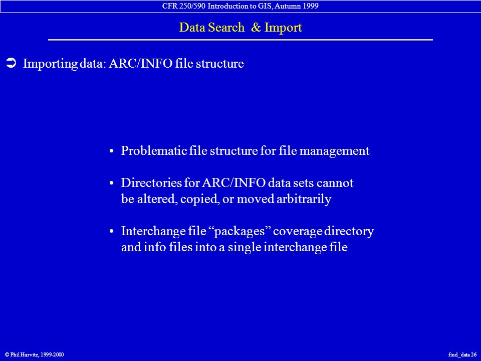CFR 250/590 Introduction to GIS, Autumn 1999 Data Search & Import © Phil Hurvitz, 1999-2000find_data 26  Importing data: ARC/INFO file structure Prob