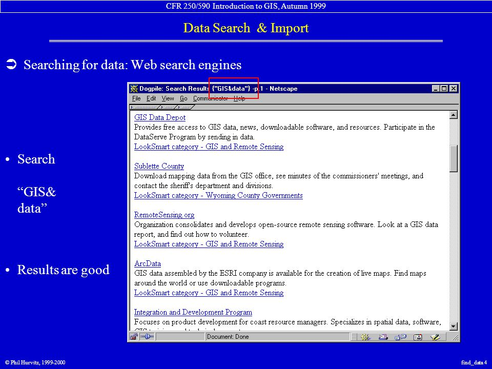 CFR 250/590 Introduction to GIS, Autumn 1999 Data Search & Import © Phil Hurvitz, 1999-2000find_data 5  Searching for data: Web search engines Search GIS& data& Washington Results are bad