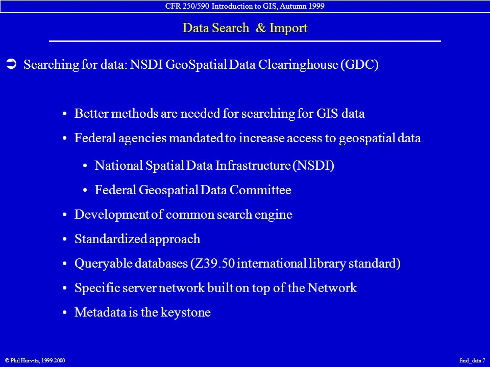 CFR 250/590 Introduction to GIS, Autumn 1999 Data Search & Import © Phil Hurvitz, 1999-2000find_data 28 GUI-controlled import function  Importing data: ARC/INFO file structure: Importing data imported as ARC/INFO coverage