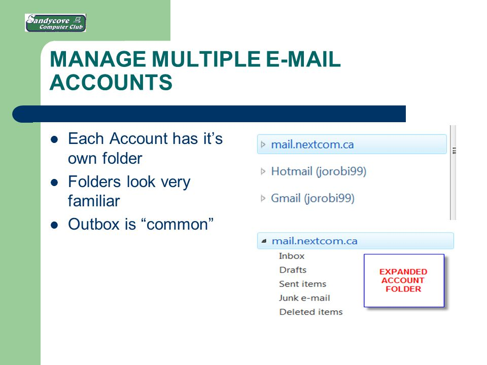 MANAGE MULTIPLE E-MAIL ACCOUNTS Each Account has it's own folder Folders look very familiar Outbox is common