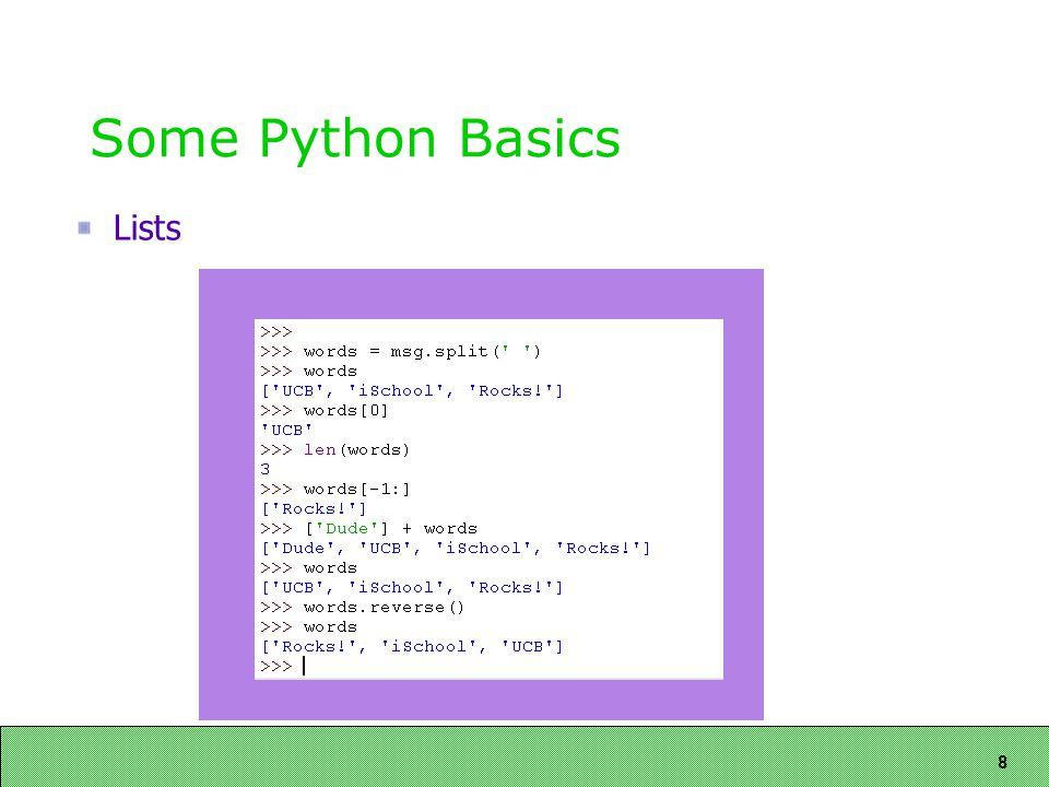 8 Some Python Basics Lists