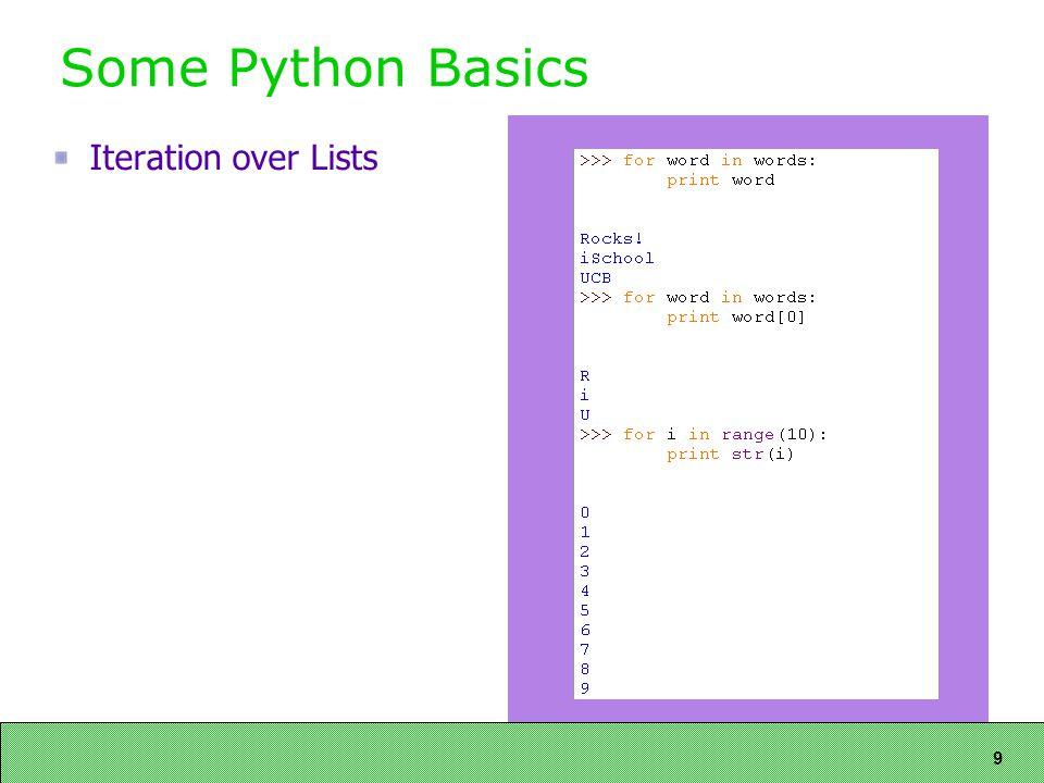 9 Some Python Basics Iteration over Lists
