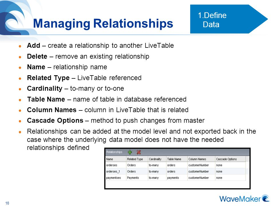 18 Managing Relationships ● Add – create a relationship to another LiveTable ● Delete – remove an existing relationship ● Name – relationship name ● R