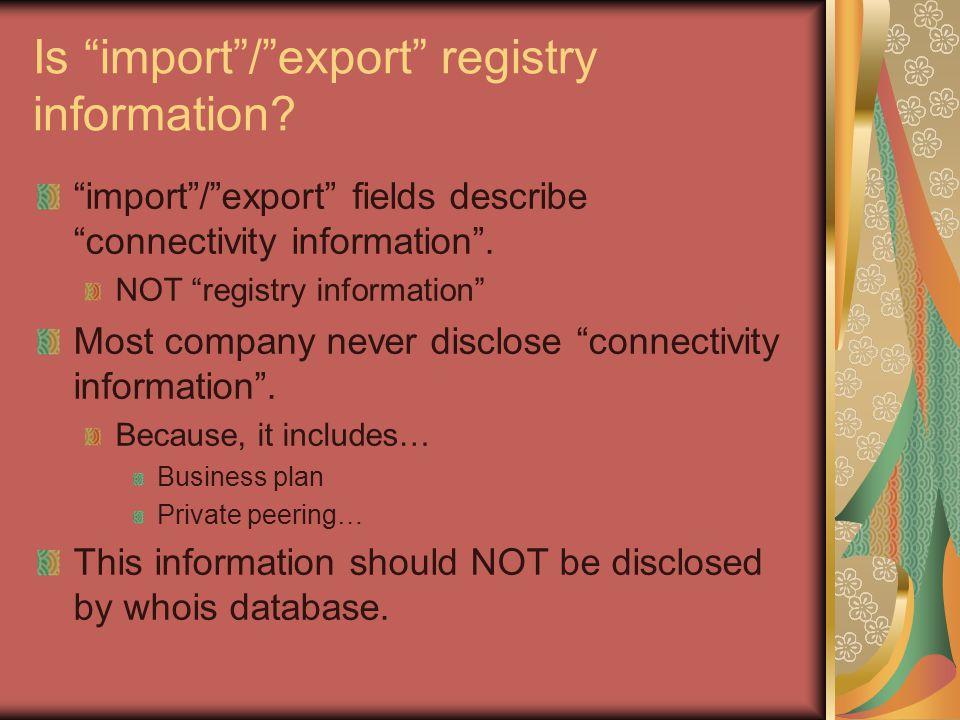 Is import / export registry information.