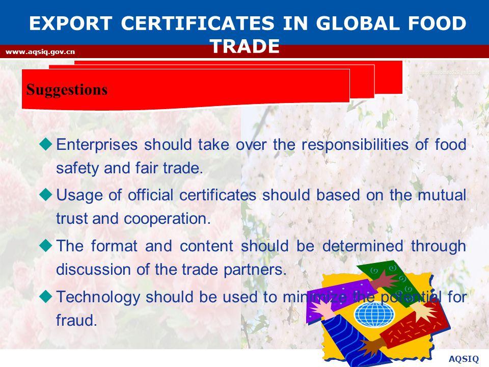 AQSIQ www.aqsiq.gov.cn  Enterprises should take over the responsibilities of food safety and fair trade.