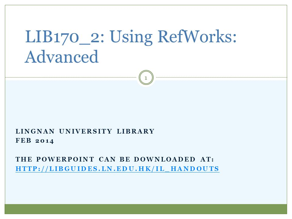 By the end of this workshop, you will be able to: import references into your RefWorks account by using import filters, manual input, RSS Feeds; capture bibliographic data from a Webpage; create in-text citations and reference lists using Write-N-Cite; share your references.