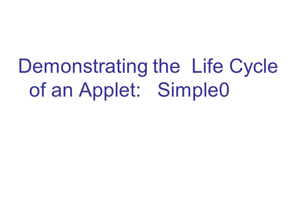 Demonstrating the Life Cycle of an Applet: Simple0