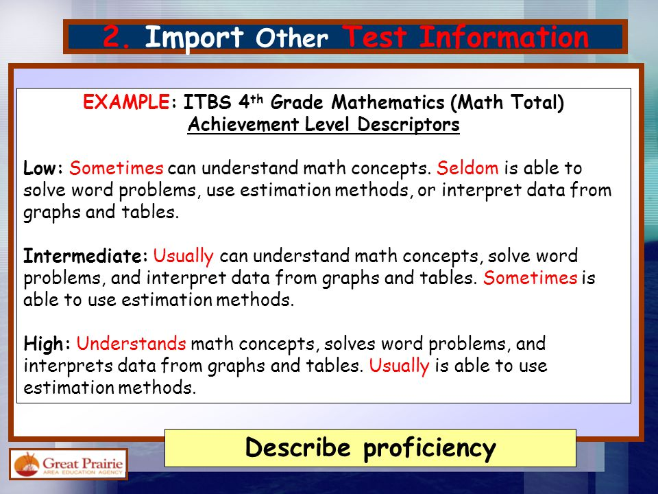 2. Import Other Test Information EXAMPLE: ITBS 4 th Grade Mathematics (Math Total) Achievement Level Descriptors Low: Sometimes can understand math co