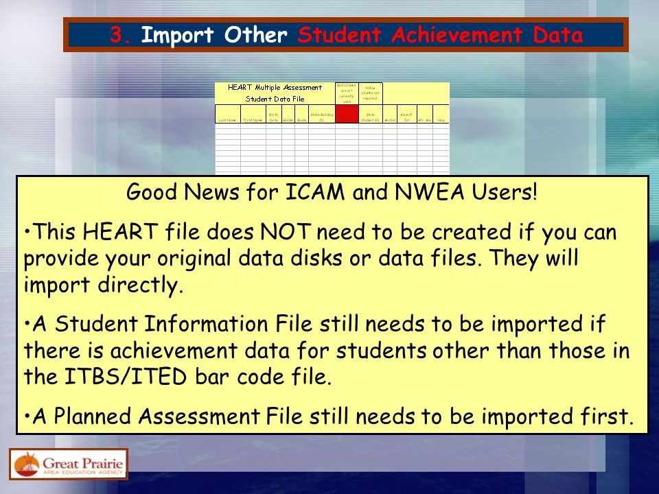 3. Import Other Student Achievement Data Good News for ICAM and NWEA Users! This HEART file does NOT need to be created if you can provide your origin