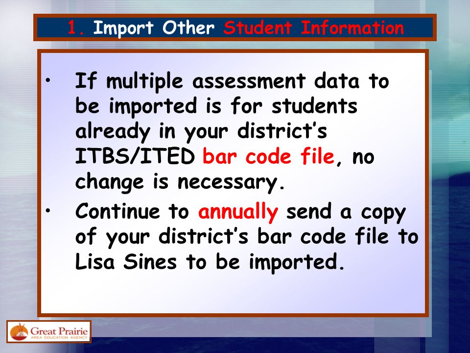 3.Import Other Student Achievement Data This is the current draft of the template.