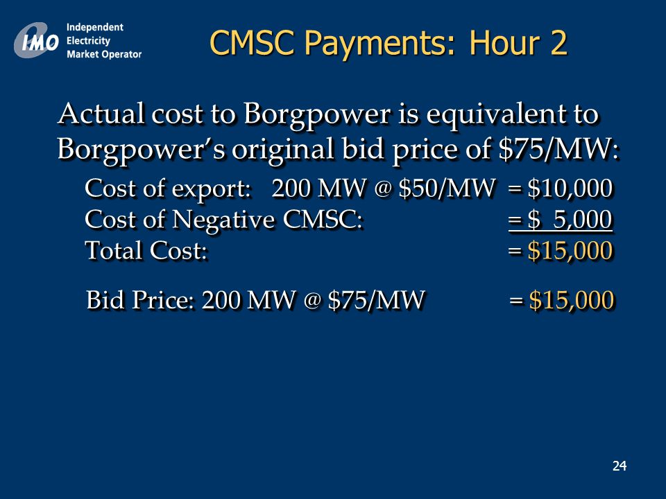 24 Actual cost to Borgpower is equivalent to Borgpower's original bid price of $75/MW: Cost of export: 200 MW @ $50/MW = $10,000 Cost of Negative CMSC:= $ 5,000 Total Cost: = $15,000 Actual cost to Borgpower is equivalent to Borgpower's original bid price of $75/MW: Cost of export: 200 MW @ $50/MW = $10,000 Cost of Negative CMSC:= $ 5,000 Total Cost: = $15,000 Bid Price: 200 MW @ $75/MW = $15,000 CMSC Payments: Hour 2