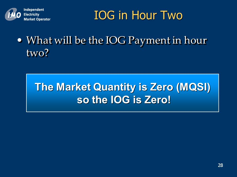 28 IOG in Hour Two What will be the IOG Payment in hour two What will be the IOG Payment in hour two.