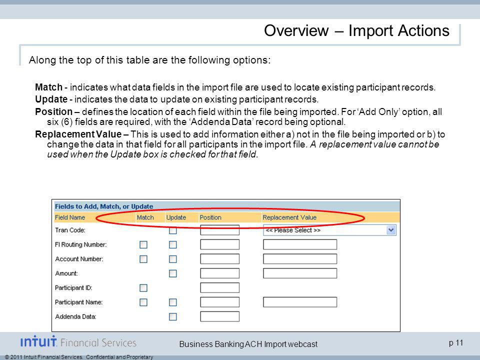 © 2011 Intuit Financial Services. Confidential and Proprietary p 11 Business Banking ACH Import webcast Overview – Import Actions Along the top of thi