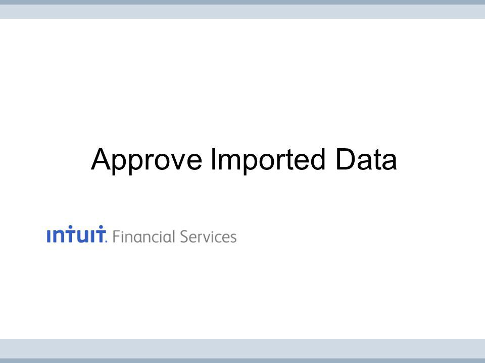 Approve Imported Data