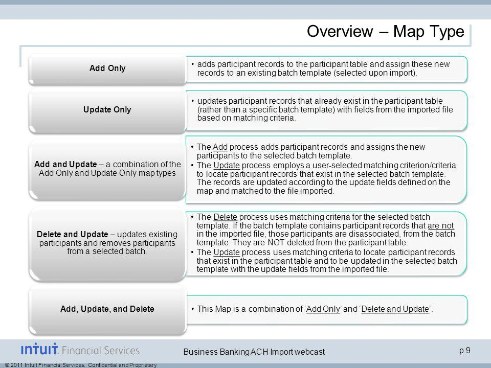 © 2011 Intuit Financial Services. Confidential and Proprietary p 9 Business Banking ACH Import webcast Overview – Map Type adds participant records to