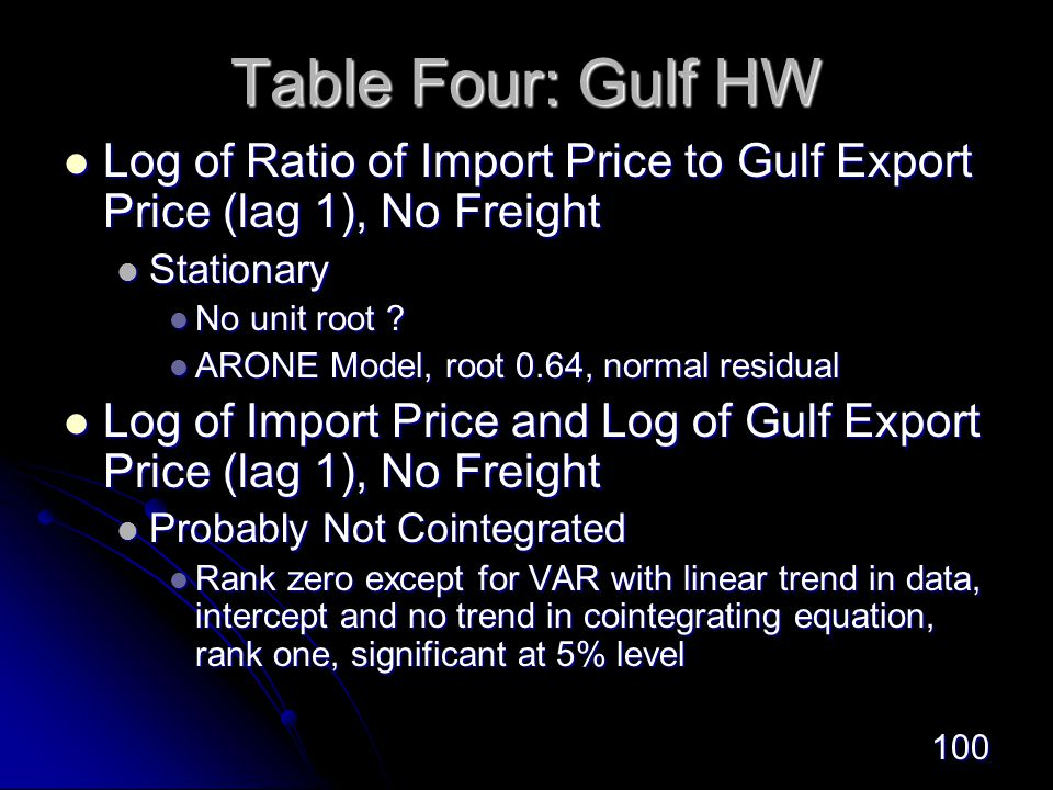 100 Table Four: Gulf HW Log of Ratio of Import Price to Gulf Export Price (lag 1), No Freight Log of Ratio of Import Price to Gulf Export Price (lag 1), No Freight Stationary Stationary No unit root .