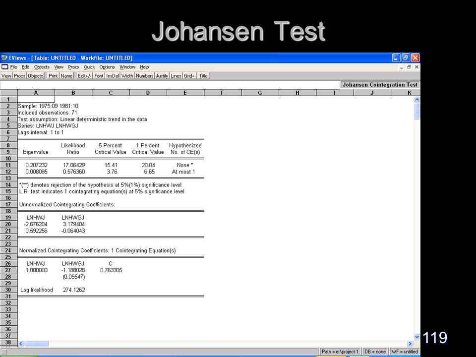 119 Johansen Test