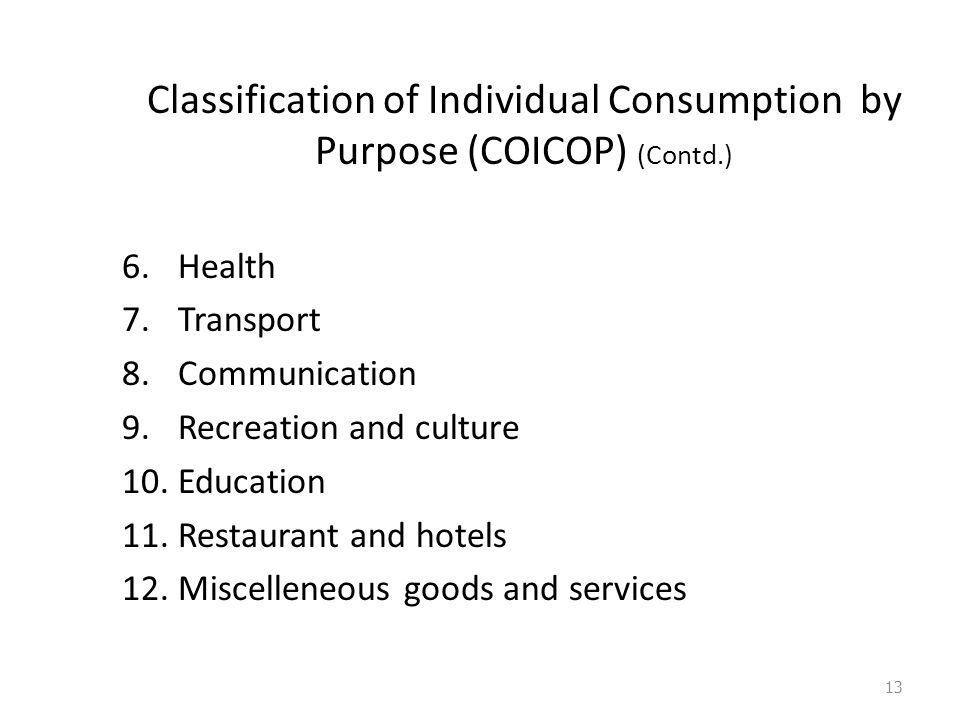 Classification of Individual Consumption by Purpose (COICOP) (Contd.) 6.Health 7.Transport 8.Communication 9.Recreation and culture 10.Education 11.Restaurant and hotels 12.Miscelleneous goods and services 13