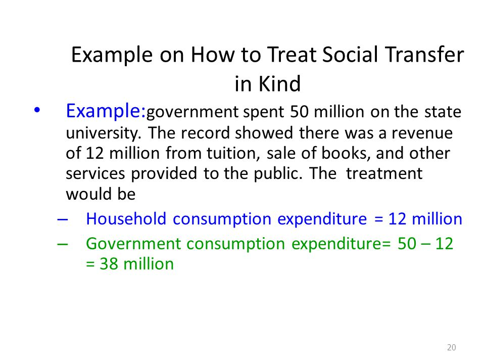 Example on How to Treat Social Transfer in Kind Example: government spent 50 million on the state university.