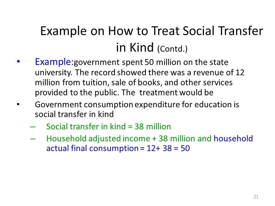 Example on How to Treat Social Transfer in Kind (Contd.) Example: government spent 50 million on the state university.