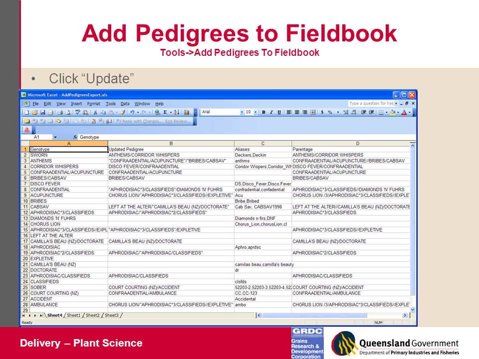 Delivery – Plant Science Add Pedigrees to Fieldbook Tools->Add Pedigrees To Fieldbook Click Update