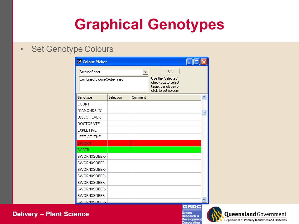 Delivery – Plant Science Graphical Genotypes Set Genotype Colours