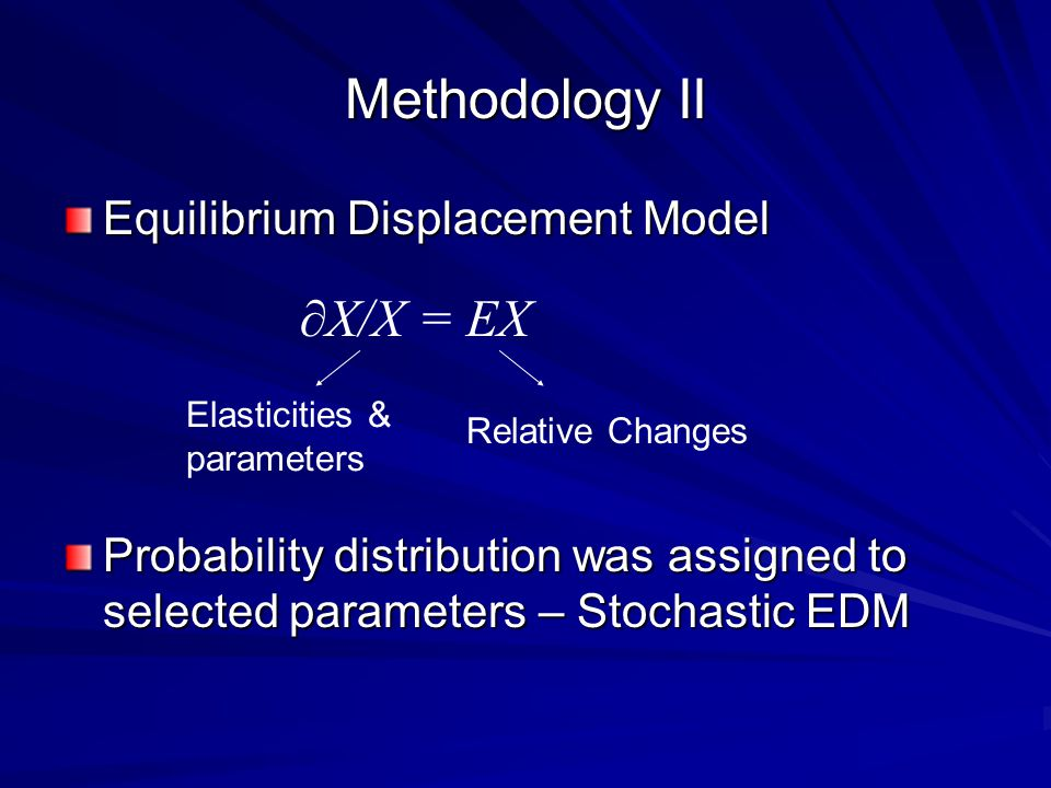 Methodology II Equilibrium Displacement Model Probability distribution was assigned to selected parameters – Stochastic EDM ∂X/X = EX Elasticities & parameters Relative Changes
