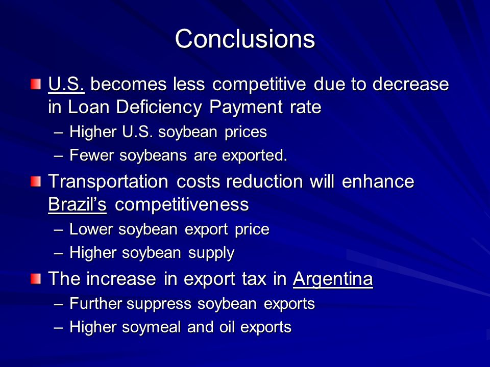 Conclusions U.S. becomes less competitive due to decrease in Loan Deficiency Payment rate –Higher U.S. soybean prices –Fewer soybeans are exported. Tr
