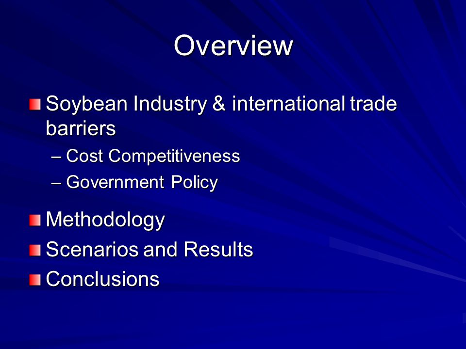 Overview Soybean Industry & international trade barriers –Cost Competitiveness –Government Policy Methodology Scenarios and Results Conclusions