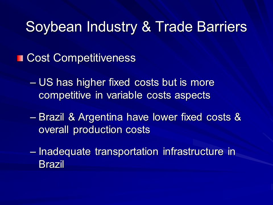 Soybean Industry & Trade Barriers Cost Competitiveness –US has higher fixed costs but is more competitive in variable costs aspects –Brazil & Argentina have lower fixed costs & overall production costs –Inadequate transportation infrastructure in Brazil