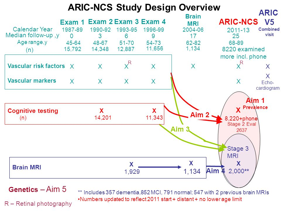 ARIC-NCS Calendar Year 1987-891990-921993-951996-992004-06 2011-13 Aim 1 Prevalence X Stage 2 Eval 2637 Aim 4 ARIC-NCS Study Design Overview Exam 1 Exam 2Exam 3Exam 4 Brain MRI Aim 3 8,220+phone Genetics – Aim 5 R – Retinal photography Aim 2 X 2,000** Cognitive testing X X (n) 14,201 11,343 Brain MRI X 1,134 X 1,929 Stage 3 MRI ** Includes 357 dementia,852 MCI, 791 normal; 547 with 2 previous brain MRIs Numbers updated to reflect 2011 start + distant + no lower age limit XXXX XXXX X X X RR 15,79214,34812,887 11,656 8220 examined more incl.