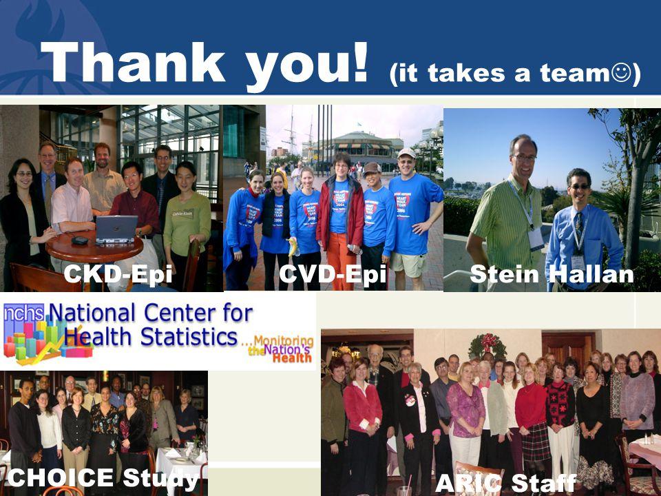 Thank you! (it takes a team ) CKD-Epi ARIC Staff CHOICE Study CVD-EpiStein Hallan
