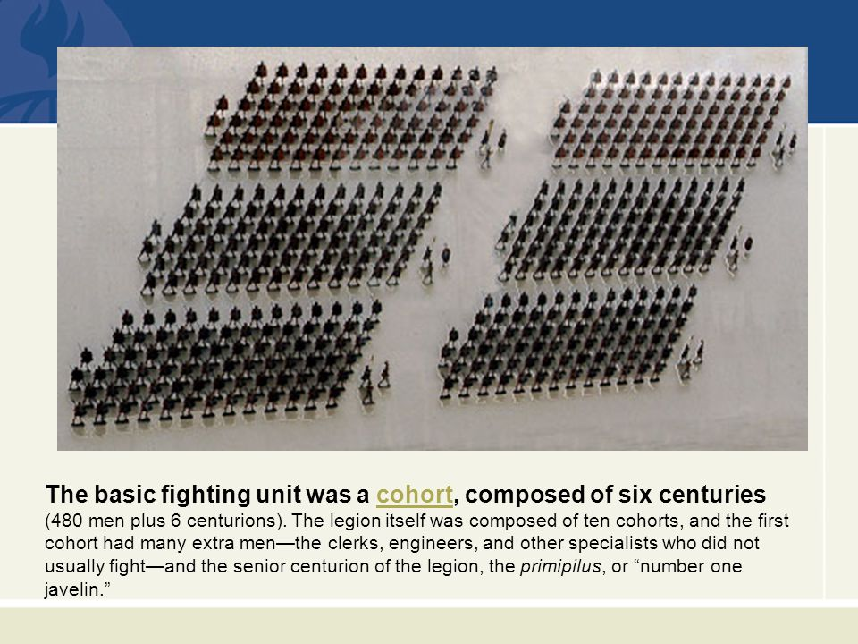 The basic fighting unit was a cohort, composed of six centuriescohort (480 men plus 6 centurions).
