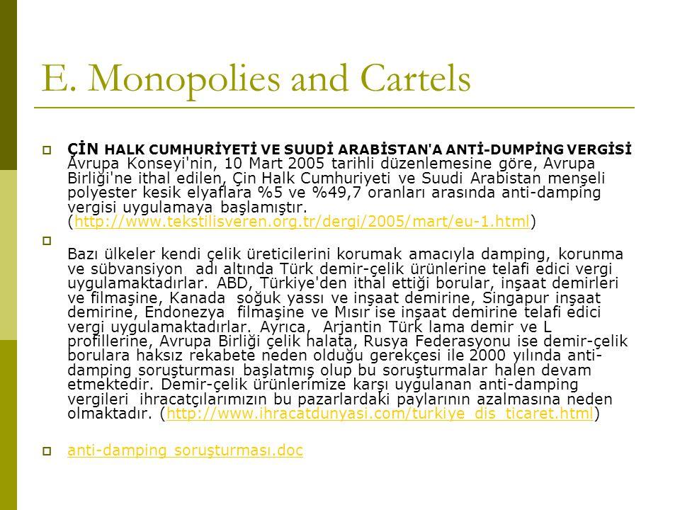 E. Monopolies and Cartels  ÇİN HALK CUMHURİYETİ VE SUUDİ ARABİSTAN'A ANTİ-DUMPİNG VERGİSİ Avrupa Konseyi'nin, 10 Mart 2005 tarihli düzenlemesine göre