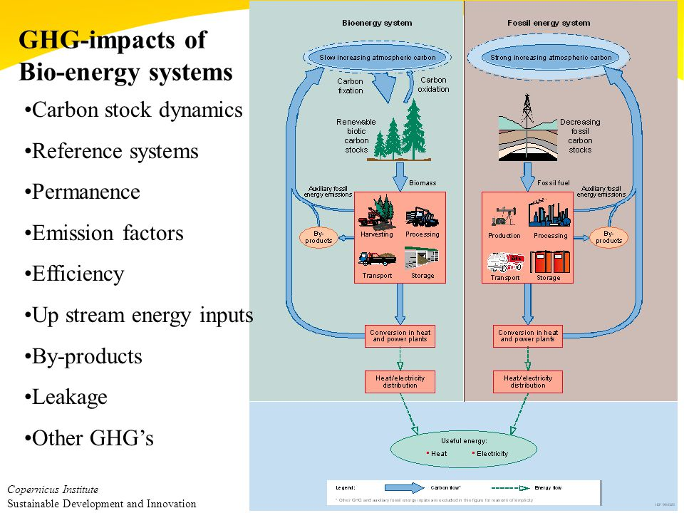 Copernicus Institute Sustainable Development and Innovation GHG-impacts of Bio-energy systems Carbon stock dynamics Reference systems Permanence Emission factors Efficiency Up stream energy inputs By-products Leakage Other GHG's