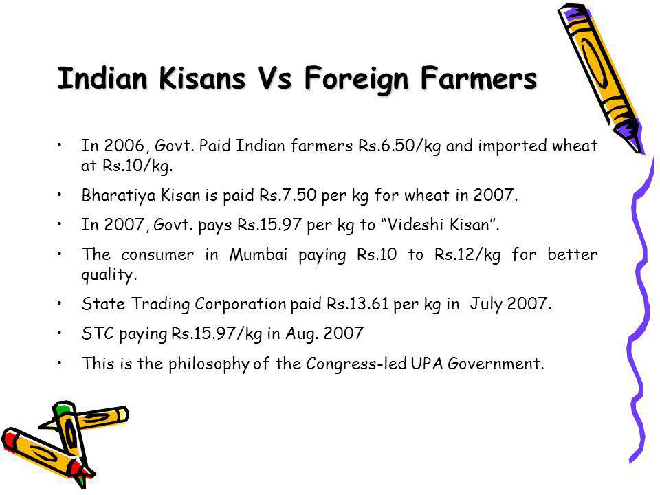 Indian Kisans Vs Foreign Farmers In 2006, Govt.