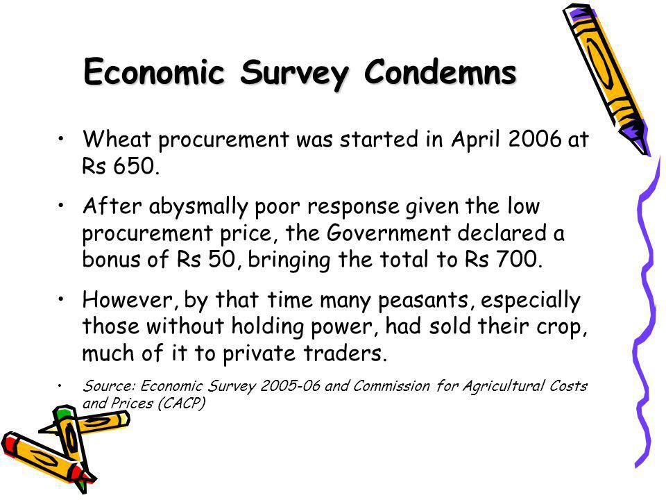 Economic Survey Condemns Wheat procurement was started in April 2006 at Rs 650.